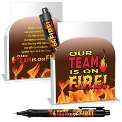 Our TEAM is on FIRE! Desk Caddy with Matching Grip Write Pen & Paper  Desk Caddy, Pen, Full Color, 4 Color Process, Imprinted, Personalized, Promotional, with name on it