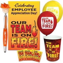 """Our TEAM is on FIRE"" Employee Appreciation Day Celebration Pack  Poster, Buttons, Pens, Cups, Celebration Pack, Employee Appreciation Day theme Celebration Pack"