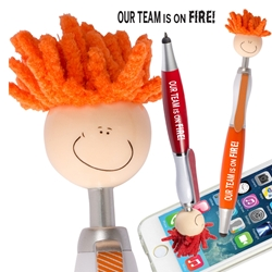 """Our TEAM is on FIRE"" Theme MopTopper™ Stylus Pens   On Fire theme, Employee, Recognition, Appreciation, Mop, Topper, Hair, Top, Smile, Pen, Stylus, Screen Cleaner, Pendant Pen, Pendant, Pen, Pens, Ballpoint, Aluminum, Imprinted, Personalized, Promotional, with name on it, giveaway, black ink"
