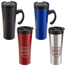 Outback 16oz. Stainless Steel/Polypropylene Travel Mug Travel Mug, Steel Travel Mug, Under $6 Travel Mug, bottle, promotional drinkware, custom vacuum insulated drinkware, employee wellness gifts, fitness promotional items