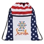 Patriotic Drawstring Backpack drawstring backpack, cinchpack, promotional bags, promotional products, USA, america, red, white, and blue, patriotic promotions,