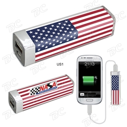 Patriotic Mobile Power Bank power bank, mobile charger, smartphone charger, promotional products, USA, america, red, white, and blue, patriotic promotions,