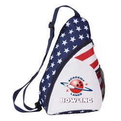 Patriotic Sling Backpack sling backpack, promotional bags, promotional products, USA, america, red, white, and blue, patriotic promotions,