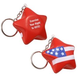 Patriotic Star Stress Reliever Key Chain patriotic, star, promotional items, election giveaways, voting, giveaways, 4th of July, Independence Day, american heart month giveaways, womens heart health giveaways, heart shaped promotional products, Valentines day promotional items, heart shaped giveaways, promotional key tags, custom printed stress reliever key chains