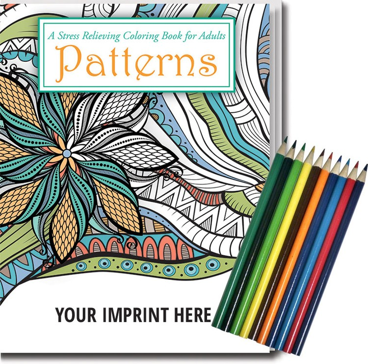 Patterns Stress Relieving Coloring Book For Adults & Colored Pencils Set
