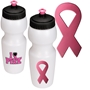 Pink Ribbon Breast Cancer Awareness Water Bottle breast cancer awareness merchandise, pink promotional items, pink ribbon gifts, pink ribbon promotional products, pink ribbon water bottle, breast cancer awareness month, walks and runs, cancer walk, cancer run, fundraisers