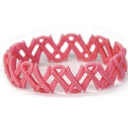 Pink Ribbon Link Silicone Wristband Bracelet hope bracelet, pink ribbon bracelet, breast cancer awareness bracelet, pink ribbon gifts, pink promotional items, breast cancer awareness merchandise, awareness bracelet, silicone wristband bracelet