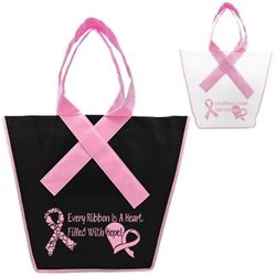 Pink Ribbon Tote with Stock Designs or Custom Imprint Ribbon Handle Tote, Ribbon Tote, Pink Ribbon Tote, Pink Ribbon Shopping Tote, Pink Ribbon Supermarket Tote, Imprinted, Personalized, Promotional, with name on it, giveaway,