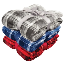 Embroidered Plaid Flannel Plush Blanket | Care Promotions
