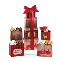 Plaid Tidings Holiday Sweets & Treats Gourmet Tower corporate holiday gifts, employee appreciation gifts, business gifts, custom logo gifts, holiday food gift sets, holiday food tower, holiday party gifts, custom food gift sets