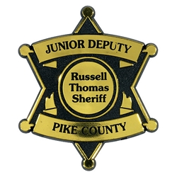 Plastic 6 Point Star Badge junior sheriff badge, junior crimefighter, sheriff department, crime prevention month, crime prevention giveaways, law enforcement promotional products, sheriff giveaways, public safety promotional items