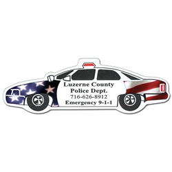 Police Car Full Color Magnet police car, junior crimefighter, police department, crime prevention, crime prevention month, crime prevention giveaways, law enforcement promotional products, magnets, kitchen magnets