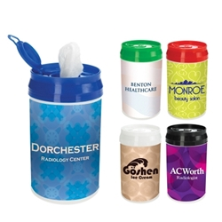 Pop-Top Wet Wipe Container Pop-Top Wet Wipe Container, Pop-Top, Wet Wipe, Container, Canister, Imprinted, Personalized, Promotional, with name on it, giveaway,