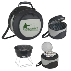 Portable BBQ Grill and Kooler barbeque, barbecue, grill, kooler, cooler, set, gift, kit, imprinted, with logo, name on it, with, cooking, grilling,