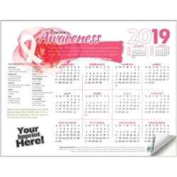 Practice Awareness Breast Cancer Awareness Adhesive Wall Calendar | Care Promotions