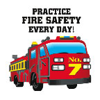 Practice Fire Safety Every Day! Fire Engine Temporary Tattoo fire safety promotional items, fire safety, kids fire safety, fire prevention, fire prevention week, fire engine, temporary tattoo, fire station giveaway