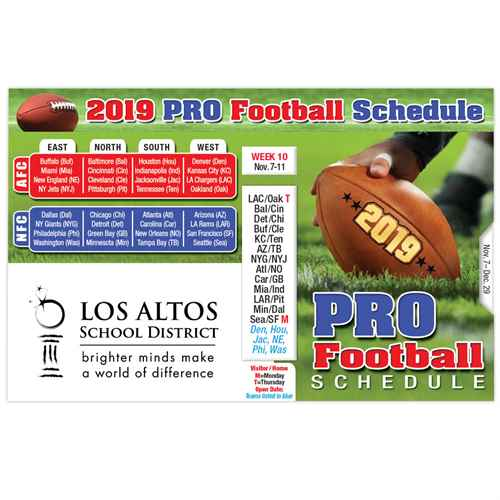 Pro Football 2019 Pocket Size Schedule At a Glance Promotional Football Items, Pocket Football Schedule, Football Giveaways, Fantasy Football Giveaways, Sports Betting Giveaways, Casino Giveaways