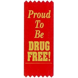 """Proud To Be Drug Free!"" Self-Adhesive Satin Ribbon Pack (Pack of 100)  Satin Red Ribbons, Gold Stamped Ribbons, Self-Adhesive, Ribbons, red ribbon week, red ribbon week party supplies, red ribbon week decorations, drug prevention, party goods, decorations, banners"