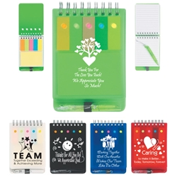 Recognition & Appreciation Spiral Jotter With Sticky Notes, Flags & Pen  Spiral Jotter With Sticky Notes, Recognition, Flags & Pen, Spiral, Jotter, With, Sticky, Notes, Flags, and, Pen, Imprinted, Personalized, Promotional, with name on it, giveaway,