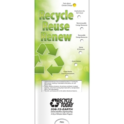 Recycle, Reuse, Renew Pocket Slider BetterLifeLine, BetterLife, Education, Educational, information, Informational, Wellness, Guide, Brochure, Paper, Low-cost, Low-Price, Cheap, Instruction, Instructional, Booklet, Small, Reference, Interactive, Learn, Learning, Read, Reading, Health, Well-Being, Living, Awareness, PocketSlider, Slide, Chart, Dial, Bullet Point, Wheel, Pull-Down, SlideGuide, Green, Environmental, Environment, Eco, Ecology, Ecosystem, Sustainable, Recycle, Recycling, Solar, Renewable, LEED, Natural, World, Earth, Green Peace, The Positive Line, Positive Promotions
