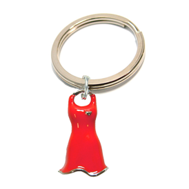 Red Dress Charm Key Tag red dress keychain, heart health awareness keychain, red dress gifts, red heart promotional items, american heart month merchandise, awareness key tag, go red