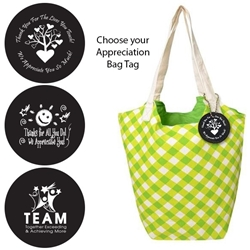 Reversible Hobo Tote with Appreciation Bag Tag (Lime Gingham)