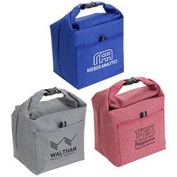 Roll Top Buckle Insulated Lunch Tote  promotional cooler bags, promotional lunch bag, employee appreciation gifts, custom printed lunch cooler, customized lunch bag, business gifts, corporate gifts