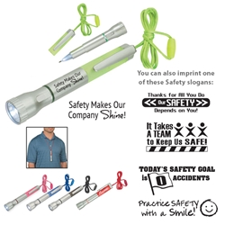 """Safety Makes Our Company Shine!"" Flashlight With Light-Up Pen  Flashlight With Light-Up Pen, Flashlight, Light-Up, Light Up, Pen, Pens, Plastic, Ballpoint, Imprinted, Personalized, Promotional, with name on it, giveaway, black ink"
