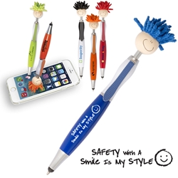 """Safety With A Smile Is My Style"" MopTopper™ Stylus Pens  Mop, Topper, safety, Hair, Top, Smile, Pen, Stylus, Screen Cleaner, Pendant Pen, Pendant, Pen, Pens, Ballpoint, Aluminum, Imprinted, Personalized, Promotional, with name on it, giveaway, black ink"