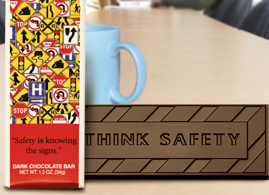"""Safety is Knowing the Signs"" Chocolate Bar Employee Appreciation, Employee Recognition, Safety Incentives, Safety Rewards, Workplace Safety, National Safety Month, Safety Meetings, Safety Snacks, OSHA"