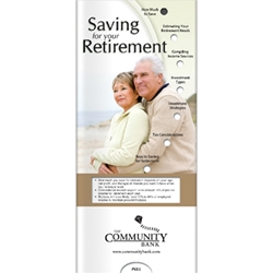 Saving for Your Retirement Pocket Slider pension plan, compensation, investment, financial, finance, advisor, broker, slide, sliding, chart, dial, guide, reference, slideguide, retirement planning, 401K, IRA, Roth IRA, Saving, Saving for Retirement