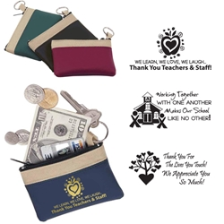 School Recognition Stock Design Safari Zip Purses Zip Purses, Safari, Colors, Cosmetic, Teachers, School, Staff, Gifts, Key Tag, Key Ring, Wallet, Bag, Coin, Pouch, Imprinted, Personalized, Promotional, with name on it, giveaway