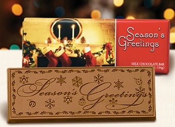 """Seasons Greetings"" Chocolate Bar Employee Appreciation, Employee Recognition, Holiday Gifts, Business Gifts, Corporate Gifts, Holiday Parties, chocolate,"
