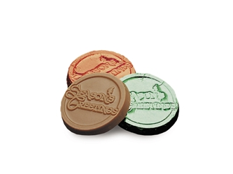 Seasons Greetings Chocolate Coin Holiday Gifts, employee appreciation, employee recognition, business gifts, thank you gifts, food gifts, chocolate