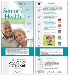 Seniors Health and Safety Pocket Slider BetterLifeLine, BetterLife, Education, Educational, information, Informational, Wellness, Guide, Brochure, Paper, Low-cost, Low-Price, Cheap, Instruction, Instructional, Booklet, Small, Reference, Interactive, Learn, Learning, Read, Reading, Health, Well-Being, Living, Awareness, PocketSlider, Slide, Chart, Dial, Bullet Point, Wheel, Pull-Down, SlideGuide, Aging, Elderly, Elder, Old, Retirement, Senior, The Positive Line, Positive Promotions, Spanish