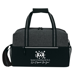 """Service is Everything We Do & We Depend On You!"" Classic Weekend Duffle    Customer Service, CSRs, CSR,  EVS, Theme, 19"" Sport, Deluxe, Duffle, Promotional, Imprinted, Polyester, Travel, Custom, Personalized, Bag"