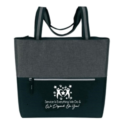 """Service is Everything We Do & We Depend On You!""! Classic Zip Tote  Customer Service, CSRs, CSR, theme ,classic zip tote,  Imprinted, Tote Bag, Travel, Custom, Personalized, Bag"
