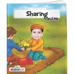 Sharing and Me All About Me Sharing and Me All About Me, story, children, picture, interactive, adventure, share,  fImprinted, Personalized, Promotional, with name on it, giveaway, friend, polite, manners