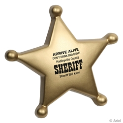 Sheriffs Badge Stress Reliever sheriff promotional items, law enforcement promotional items, police promotional item, crime prevention promotional items, crime prevention month giveaways, police car promotional items, sheriff badge stress reliever, sheriffs office giveaways