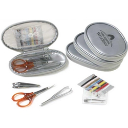 Silver Flash Travel Kit Silver Flash Travel Kit, Stainless Steel, Manicure Set, Sewing Kit, Silver, Flash, Travel, Kit, Nail Scissors, Nail Clippers, Tweezers, Needles, replacement, buttons, safety pin, Imprinted, Personalized, Promotional, with name on it, giveaway