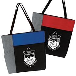 """Social Workers: Making A Difference Every Day, Every Moment"" Assorted Red & Blue Block Zip Tote  Social Workers theme tote, Social Workers Monh Theme Tote, Recognition Tote for Social Workers, Appreciation Tote for Social Workers"