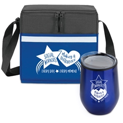 """Social Workers: Making A Difference Every Day, Every Moment"" Goblet & Cooler Care Bundle  Social Workers theme, Social Work Month theme Lunch Bag Combo, Social Worker Appreciation Gift Combo, Cooler and Bottle Combo, Care Bundle, Break Pack, Social Worker Appreciation Gift Set, Theme, promotional products, scooler set, Lunch bag, Imprinted"