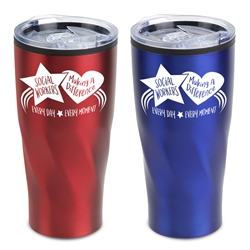 """Social Workers: Making A Difference Every Day, Every Moment"" Red and Blue Assorted 20 oz Stainless Steel/Polypropylene Tumbler Social Workers theme tumbler, Social Workers travel mug, Imprinted Travel Tumbler for Social Workers, Social Workers appreciation Tumbler"