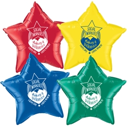 """Social Workers: Making A Difference Every Day, Every Moment"" Star Shaped Foil Balloons (Pack of 12 assorted colors)    Social Work Month Balloons, Social Worker Theme Mylar Balloons Social Worker theme, Recognition Balloons, Theme, foil balloons, mylar, party goods, decorations, celebrations, round shaped balloons, promotional balloons, custom balloons, imprinted balloons"