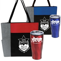 """Social Workers: Making A Difference Every Day, Every Moment"" Travel Tumbler & Tote Care Bundle    Social Workers Theme Tumbler and Tote Combo, Social Worker theme Appreciation Gift Combo, Social Worker Tumbler and Tote Combo, Travel Tumbler and Tote, Care Bundle, Break Pack, Social Worker Theme Gift Set, Theme, promotional products, scooler set, Lunch bag, Imprinted"
