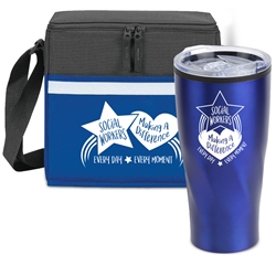 """Social Workers: Making A Difference Every Day, Every Moment"" Tumbler & Cooler Care Bundle   Social Workers theme, Social Workers Lunch Bag Combo, Social Workers Appreciation Gift Combo, Cooler and Bottle Combo, Care Bundle, Break Pack, Social Workers Gift Set, Theme, promotional products, scooler set, Lunch bag, Imprinted"