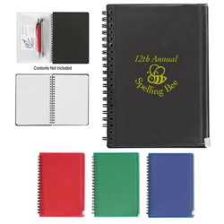 Spiral Notebook With Pouch Spiral Notebook With Pouch, Spiral, Notebook, With, Pouch, Imprinted, Personalized, Promotional, with name on it, giveaway,