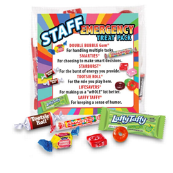 Staff Emergency Treat Pack  staff, survival, kit, emergency, treat, pack, employee recognition Treat, employee appreciation treat, Employee Treat Giveaway, Employee Appreciation Candy Kit