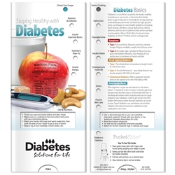 Staying Healthy with Diabetes Pocket Slider BetterLifeLine, BetterLife, Education, Educational, information, Informational, Wellness, Guide, Brochure, Paper, Low-cost, Low-Price, Cheap, Instruction, Instructional, Booklet, Small, Reference, Interactive, Learn, Learning, Read, Reading, Health, Well-Being, Living, Awareness, PocketSlider, Slide, Chart, Dial, Bullet Point, Wheel, Pull-Down, SlideGuide, Exercise, Fitness, Healthy, Eating, Nutrition, Diet, Check-Up, Body, Fat, Muscles, Lean, Heart, Doctor, First Aid, The Positive Line, Positive Promotions