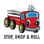 Stop, Drop, & Roll Fire Truck Temporary Tattoo fire safety promotional items, fire safety, kids fire safety, fire prevention, fire prevention week, fire truck, fire engine, temporary tattoo, fire station giveaway